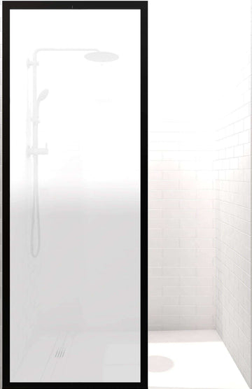Gridscape GS3 Fixed Panel Shower Screen Black With Satin Deco Glass Main Image