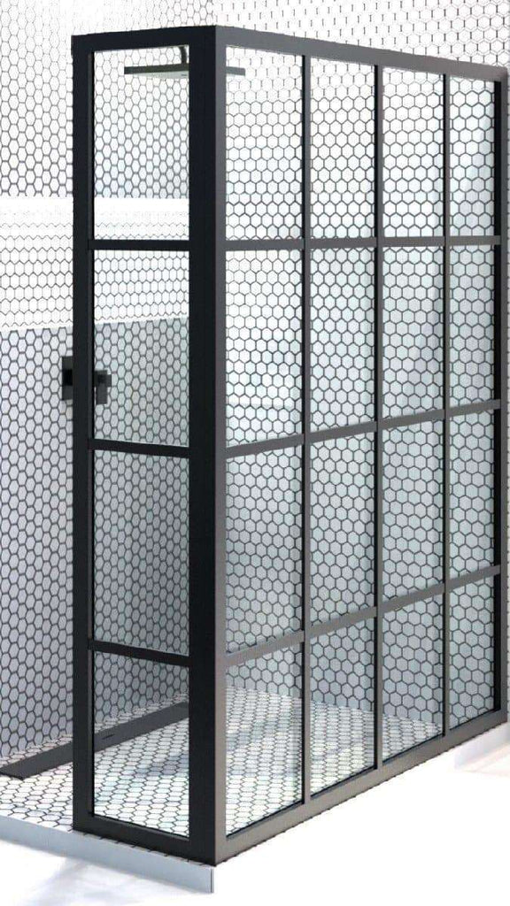Gridscape 1 Divided-Light Factory Window Shower Screen in Black ...