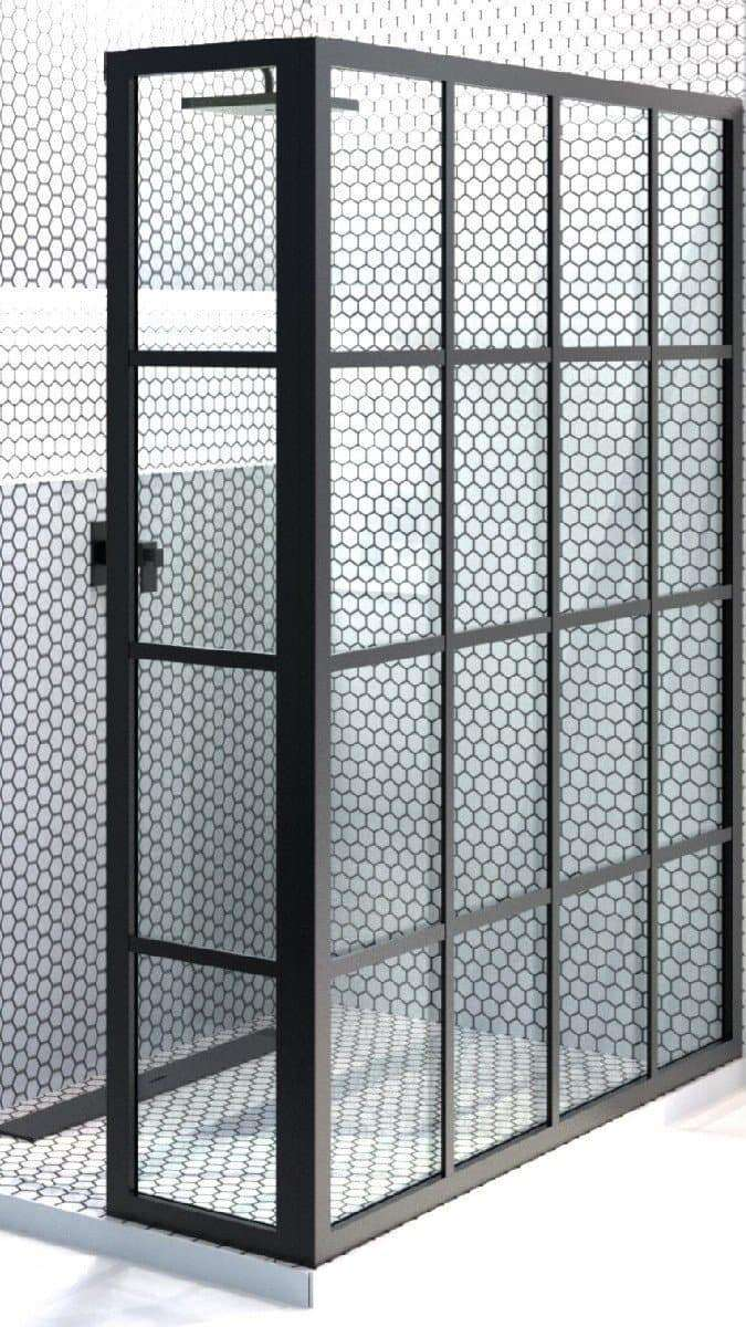Black Window Frame Grid Pattern Corner Shower Screen