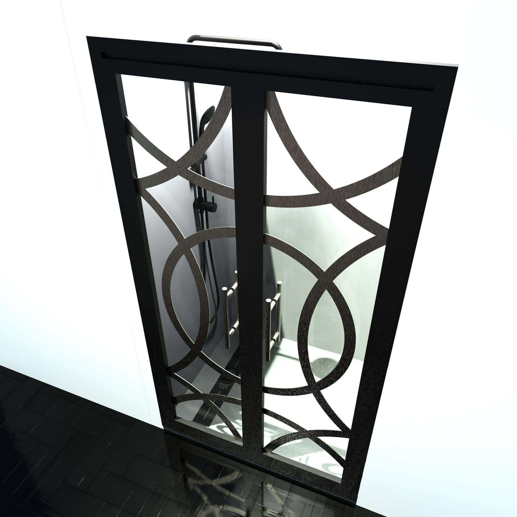 Poe Edition Gridscape Series Double Swing French Shower Doors In Black Frame And Clear Glass
