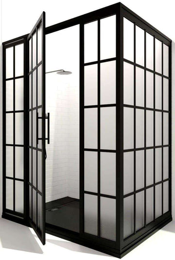 Black Shower Enclosure with Grids - Gridscape 4-Panel Corner Shower Door by Coastal Shower Doors - Series 1 - SatinDeco Glass