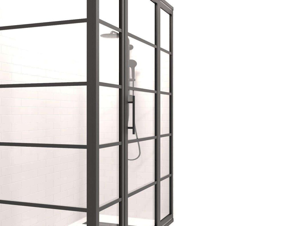 Black Frame Windowpane Shower Doors | Gridscape Series