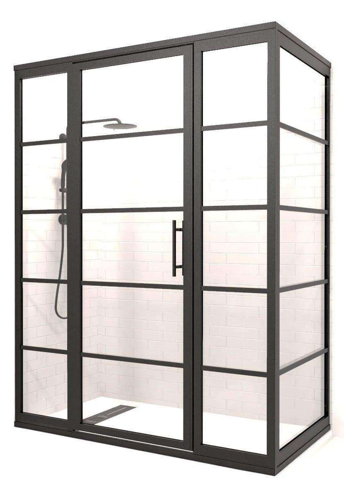 Black Grid Frame Corner Gridscape Shower Door by Coastal Shower Doors