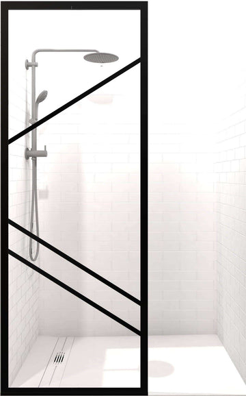 Gridscape Fixed Shower Panel GS4 Paradigm Right | Black with Clear Glass