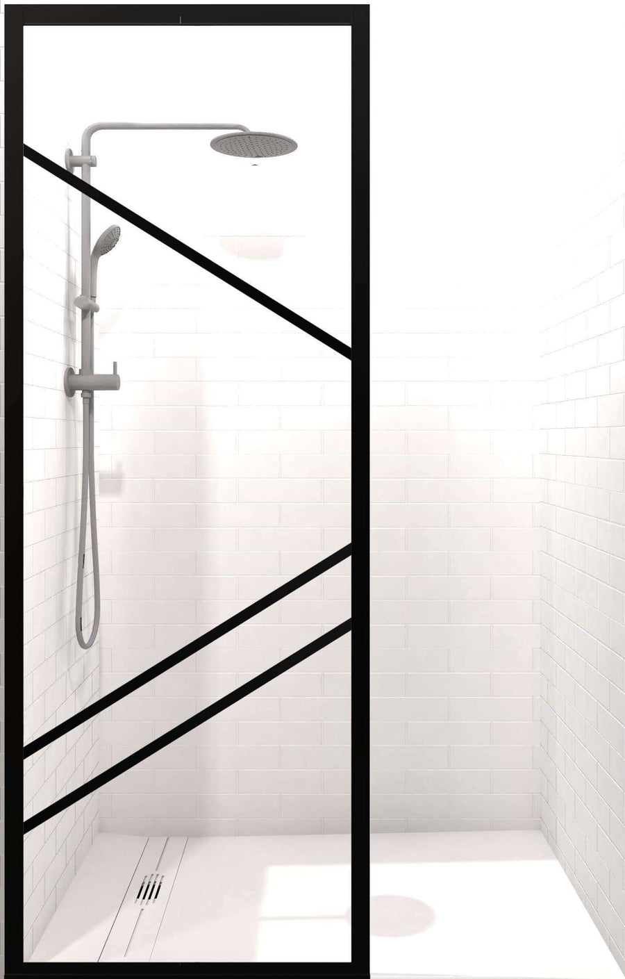 Gridscape Fixed Shower Panel GS4 Paradigm Left | Black with Clear Glass