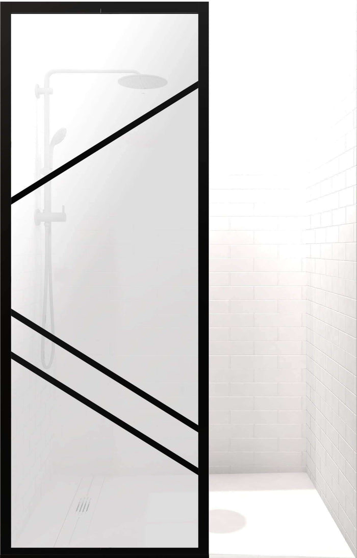 Gridscape GS4 Paradigm Shower Screen in Black with SatinDeco Glass