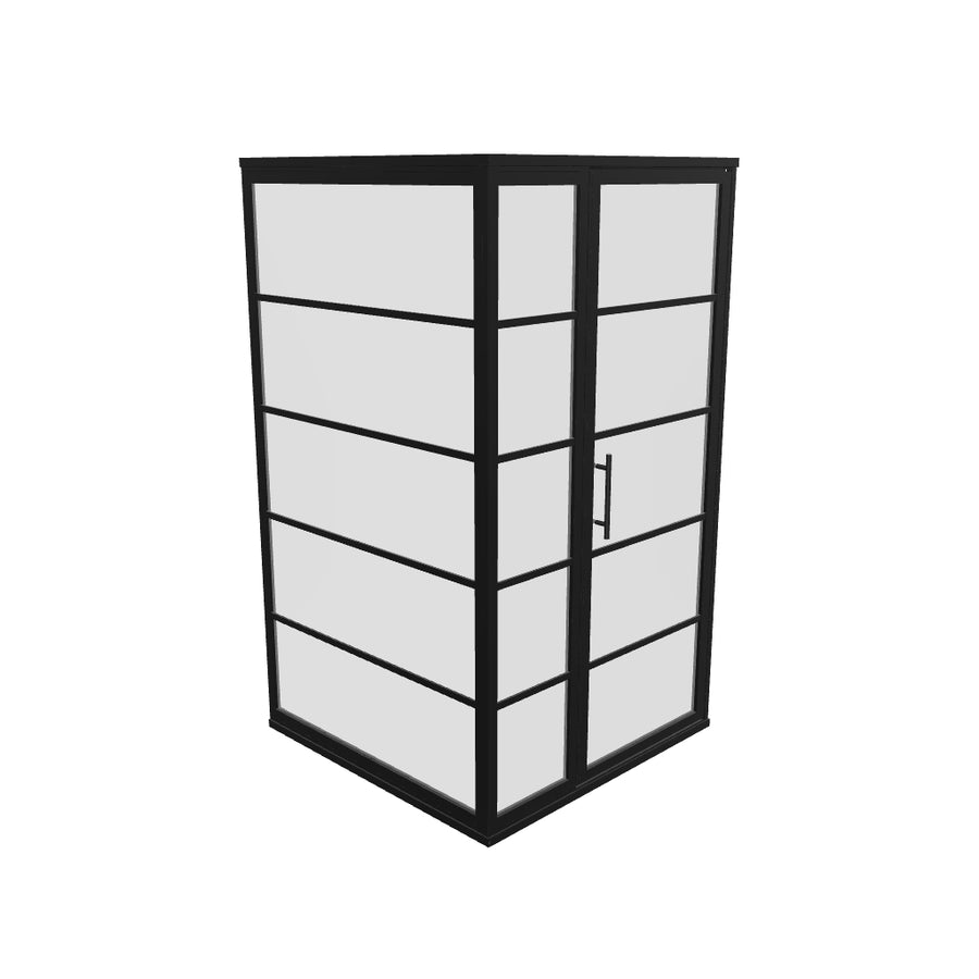 Gridscape GS2 3-Panel Corner Shower Door in Black with Clear Glass