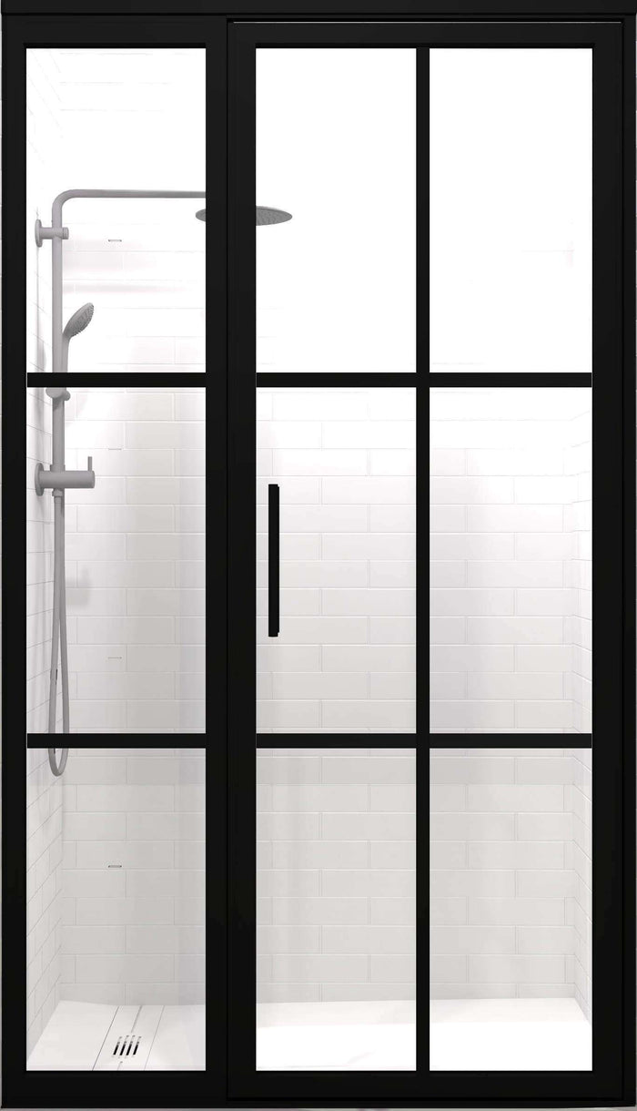 Black Frame Grid Pattern Factory Window Shower Door by Coastal Shower Doors