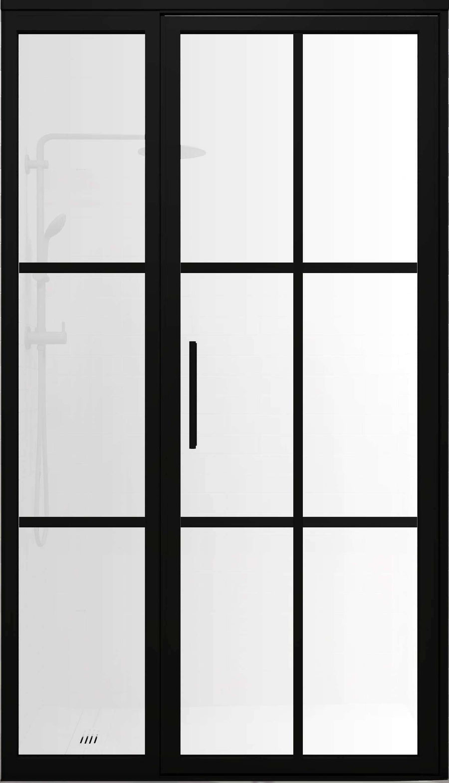 Gridscape GS1.2 Swing Shower Door and Panel in Black with SatinDeco Glass