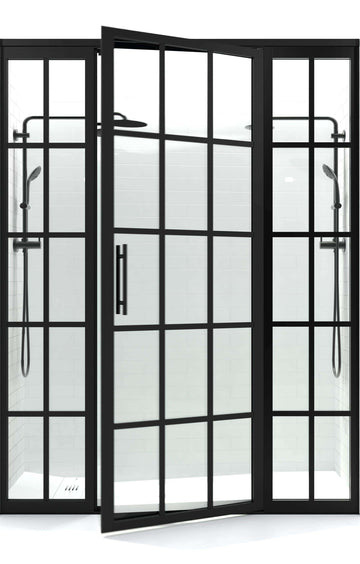Black Framed Hinged Shower Door by Coastal with Factory Windowpane Industrial Style Mullions on outside of tempered Glass.   Shower door beteeen two side panels.
