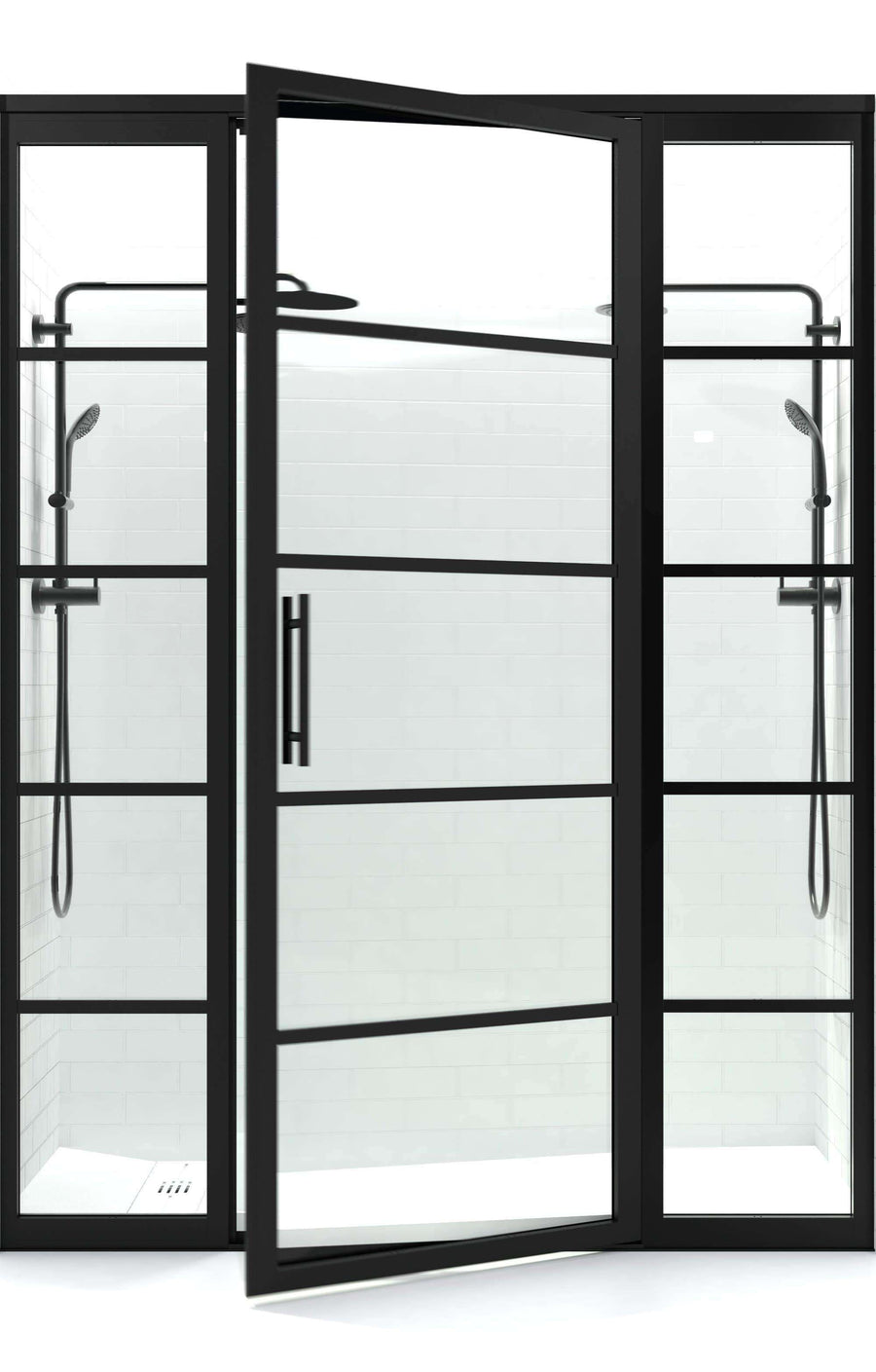 Industrial Balck Grid Style Shower Door | Gridscape Series GS2 with Clear Glass | Door with 2 Inline Panels