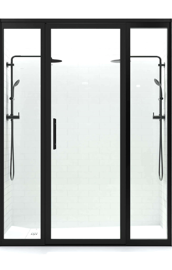 Gridscape Gs3 Swing Shower Door With 2 Side Panels In Black With
