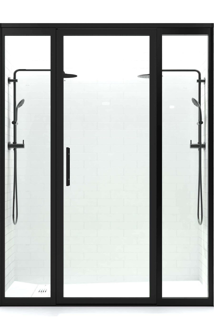 Gridscape GS3 Swing Shower Door with 2 Side Panels in Black with Clear Glass | Coastal Shower Doors | Door Closed
