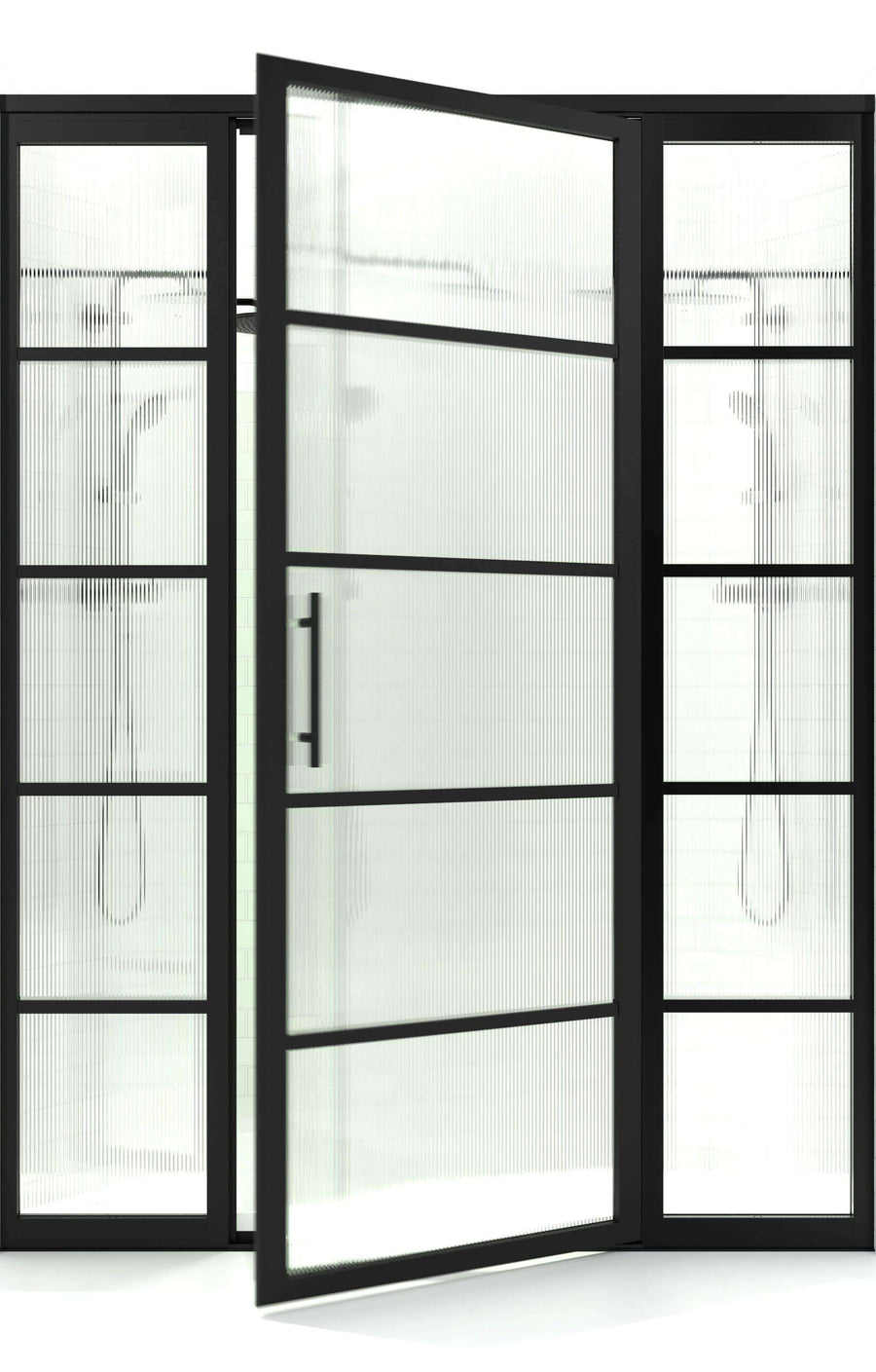 Gridscape GS2 Swing Shower Door with 2 Side Panels in Black with Trench Pattern Glass