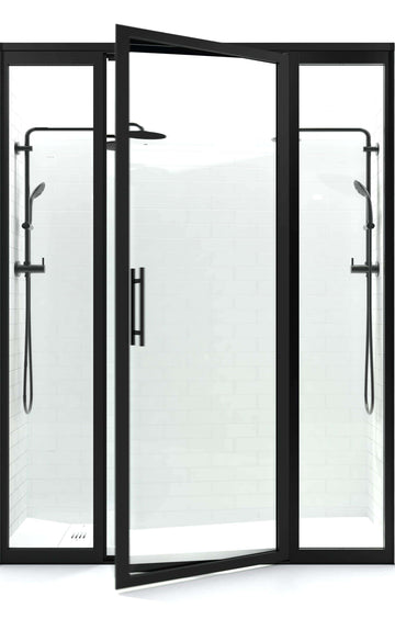 Gridscape GS3 Swing Shower Door with 2 Side Panels in Black with Clear Glass | Door Open | Coastal Shower Doors
