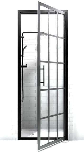 Black Frame Gridscape Series Swinging Shower Door with Factory Window Style Metal Muntins