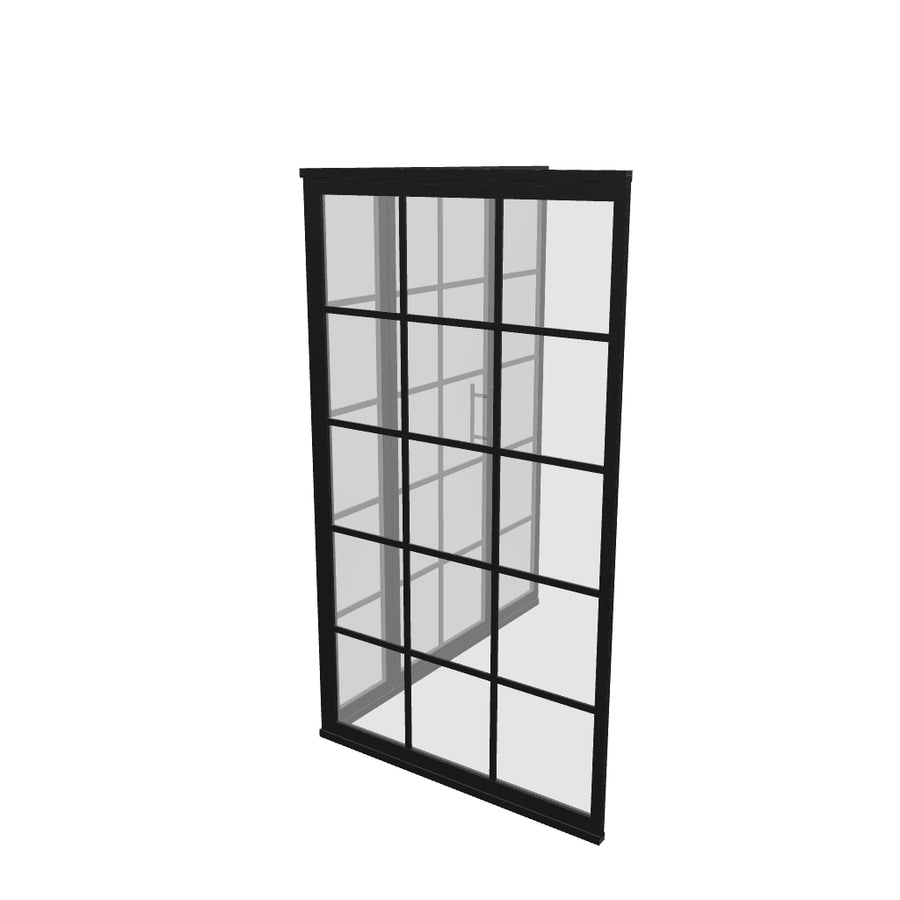 Gridscape GS1 4-Panel Corner Shower Door in Black with Clear Glass