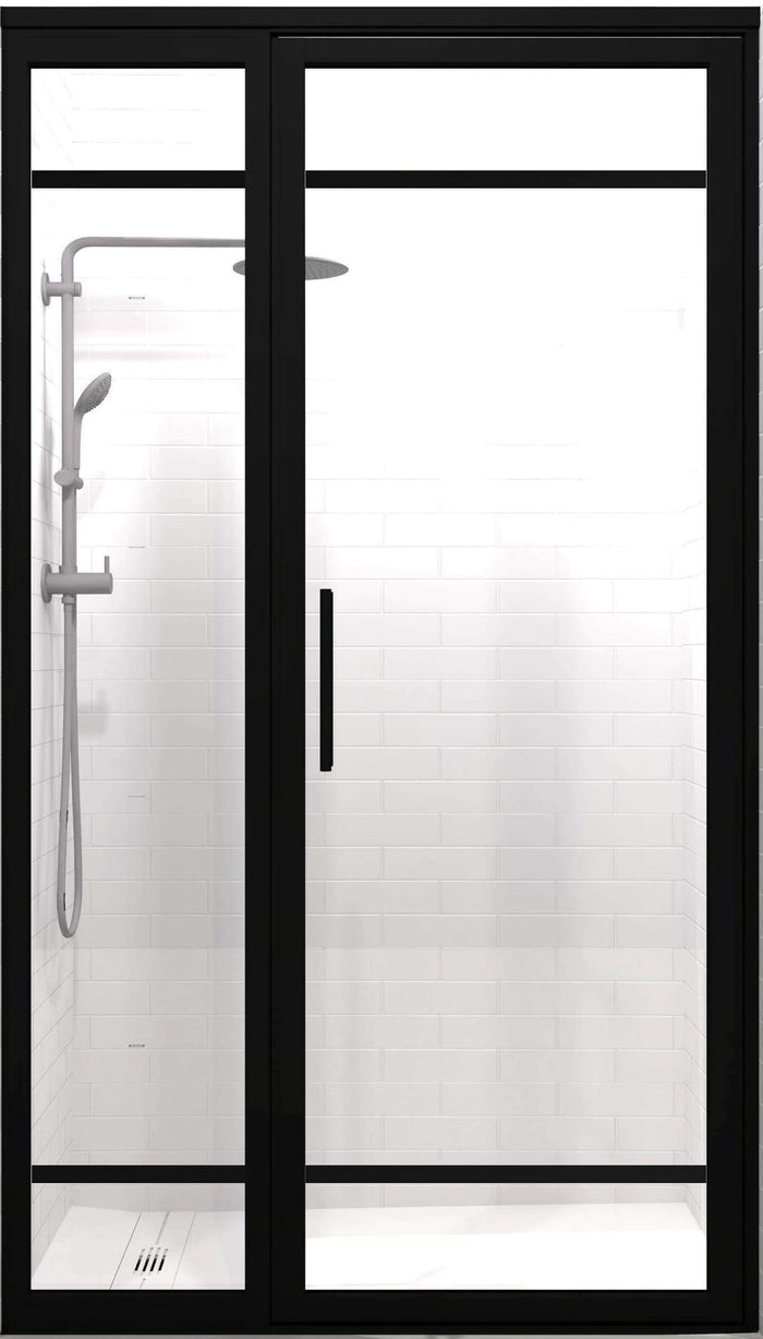 Gridscape GS2-2 Hinged Door and Panel in Black Finish and Clear Glass & Hinged Shower Doors \u2013 ided STYLE