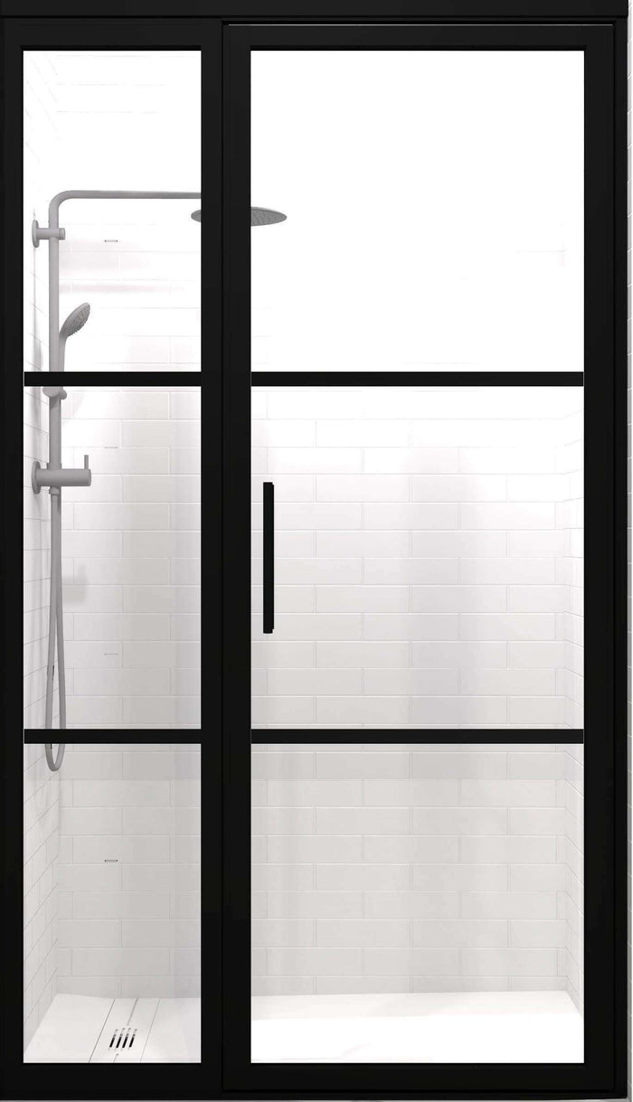Gridscape GS2-2.1 Hinged Door and Panel in Black Finish and Clear Glass