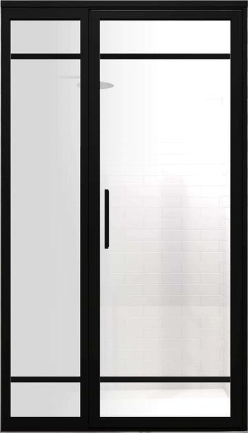 Black Frame Industrial Grid Shower Enclosures | Gridscape | GS2-2 | SatinDeco Frosted Glass | Coastal Shower Doors