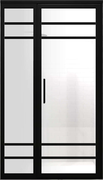 Black Frame Industrial Grid Shower Enclosures | Gridscape | GS2-4 | SatinDeco Frosted Glass | Coastal Shower Doors