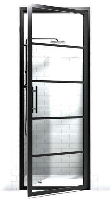 GRIDSCAPE GS2 FULL DIVIDED LIGHT BLACK FRAME GRID SWING SHOWER DOOR WITH CLEAR GLASS