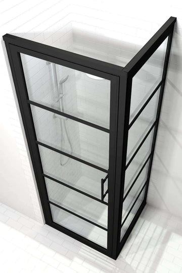 Industrial Black Frame Corner Shower Doors - Gridscape GS2 with Clear Glass by Coastal Shower Doors