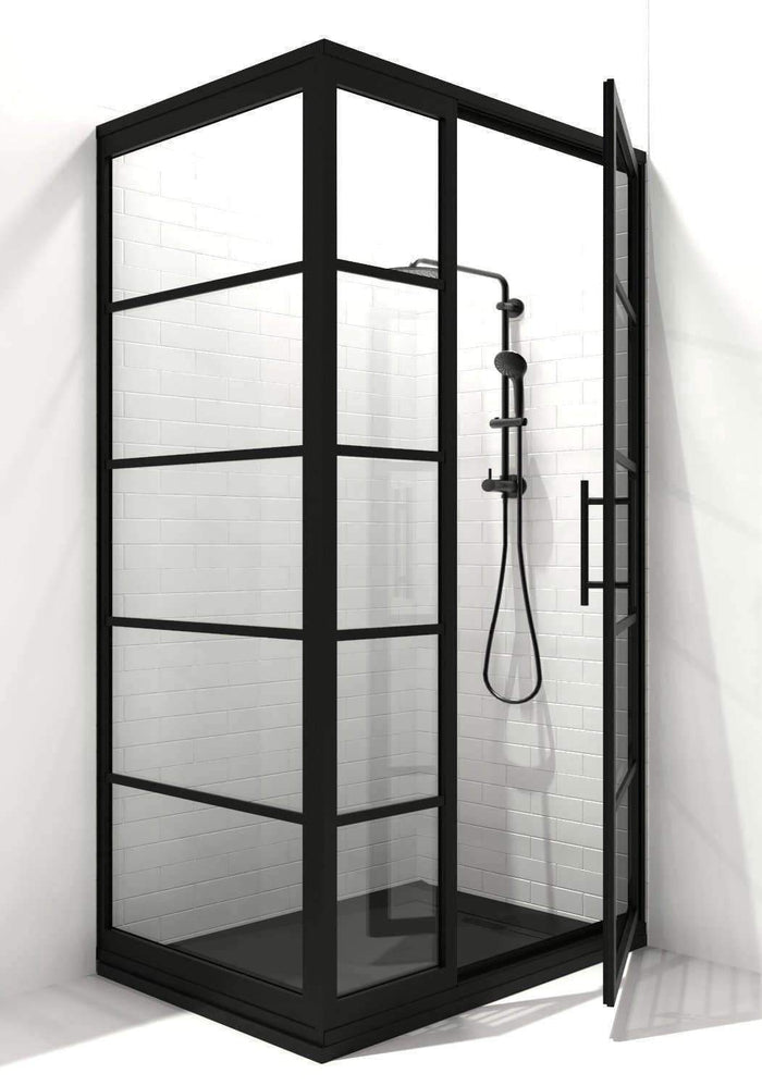 Black Grid Corner Shower Door - Gridscape Series 2 GS2 - Coastal Shower Doors