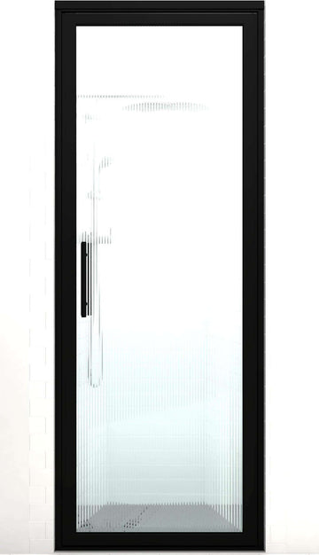 Black Frame Hinge Shower Door | Industrial Style | Gridscape GS3 | Trench Patterned Glass