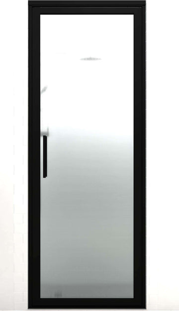 Black Frame Hinge Shower Door | Industrial Style | Gridscape GS3 | Master Point Patterned Glass