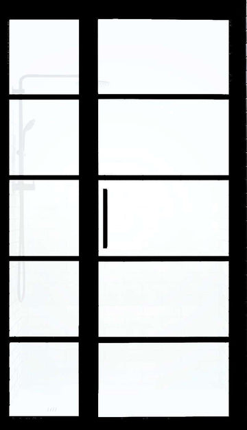 Divided Lite Shower Door with Panel Black Frame Gridscape GS2 Grid Pattern with SatinDeco Glass