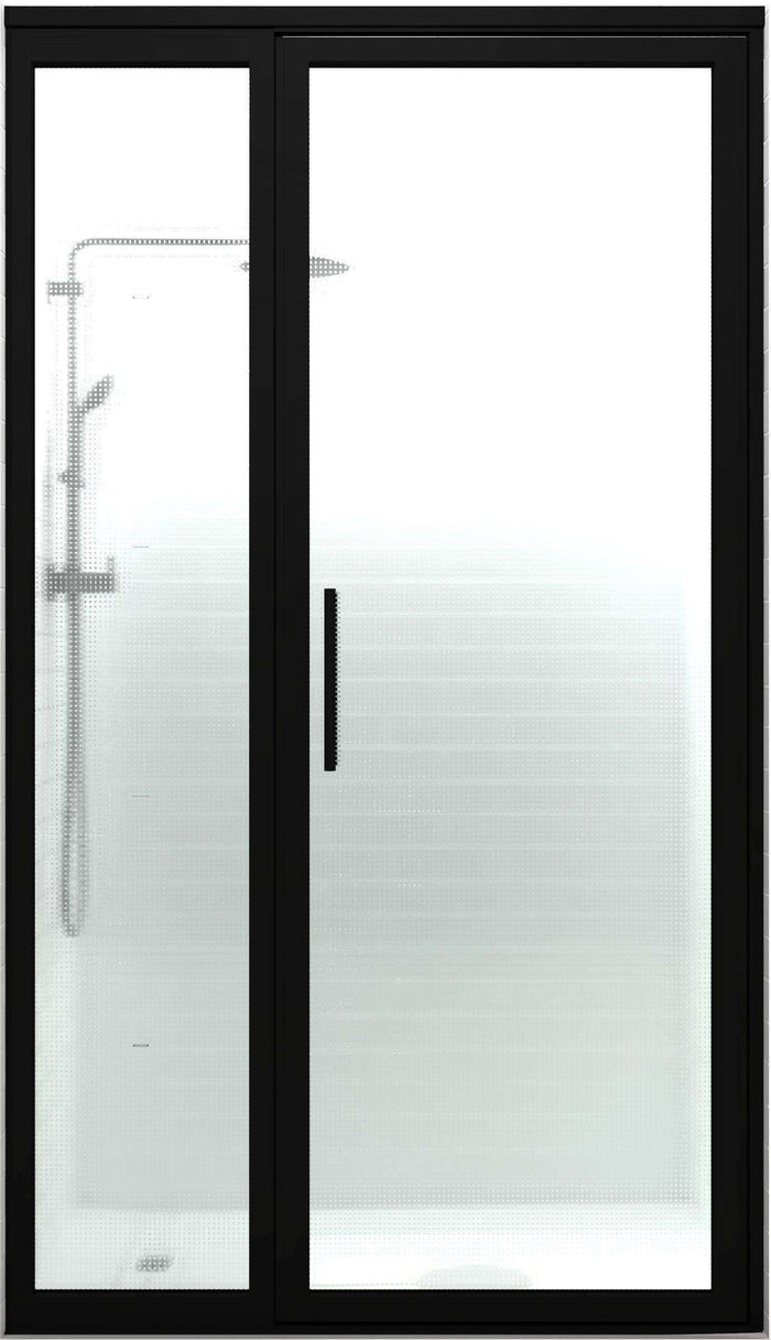 Black Frame Shower Door | Industrial Style | Gridscape GS3 | Master Carre Dotted Grid Patterned Glass | Coastal Shower Doors