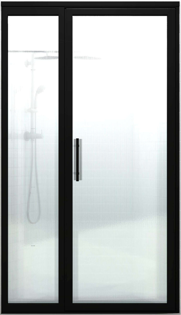 Gridscape GS3 Swing Shower Door and Panel in Black with RibCord Glass