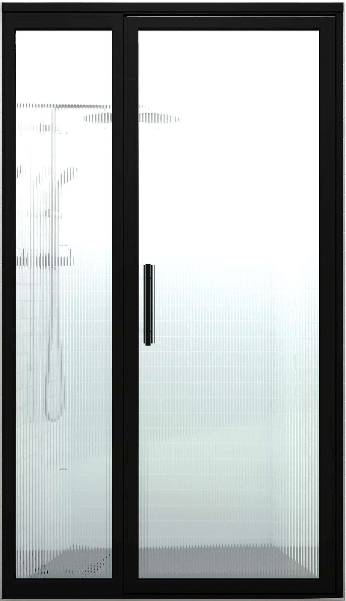 Black Frame Shower Door | Industrial Style | Gridscape GS3 | Trench Reeded Patterned Glass | Coastal Shower Doors