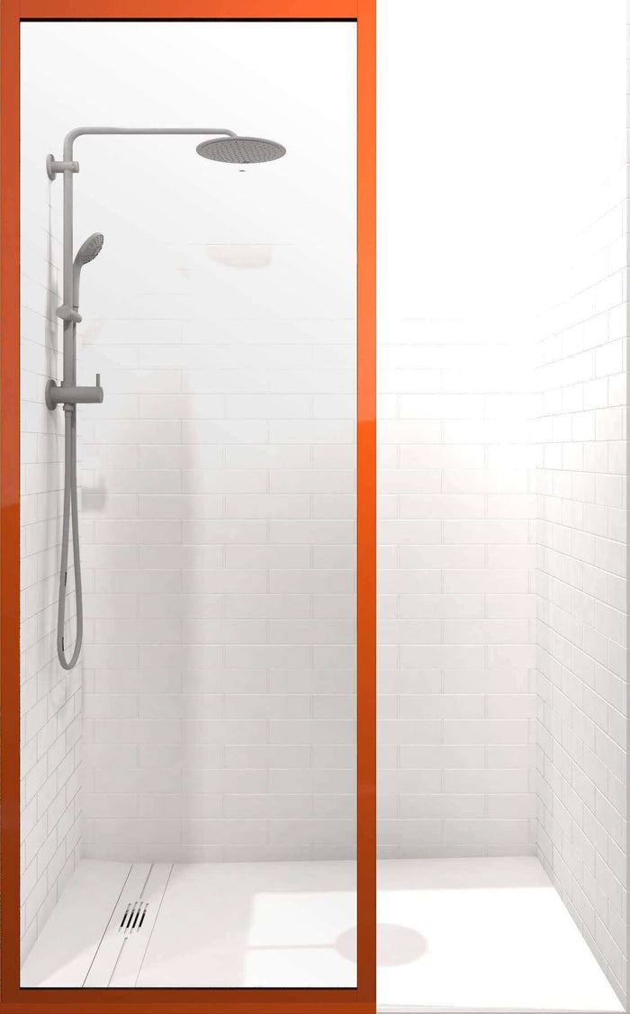 Gridscape GS3 Colorize Shower Screen in Mango Tango with Clear Glass