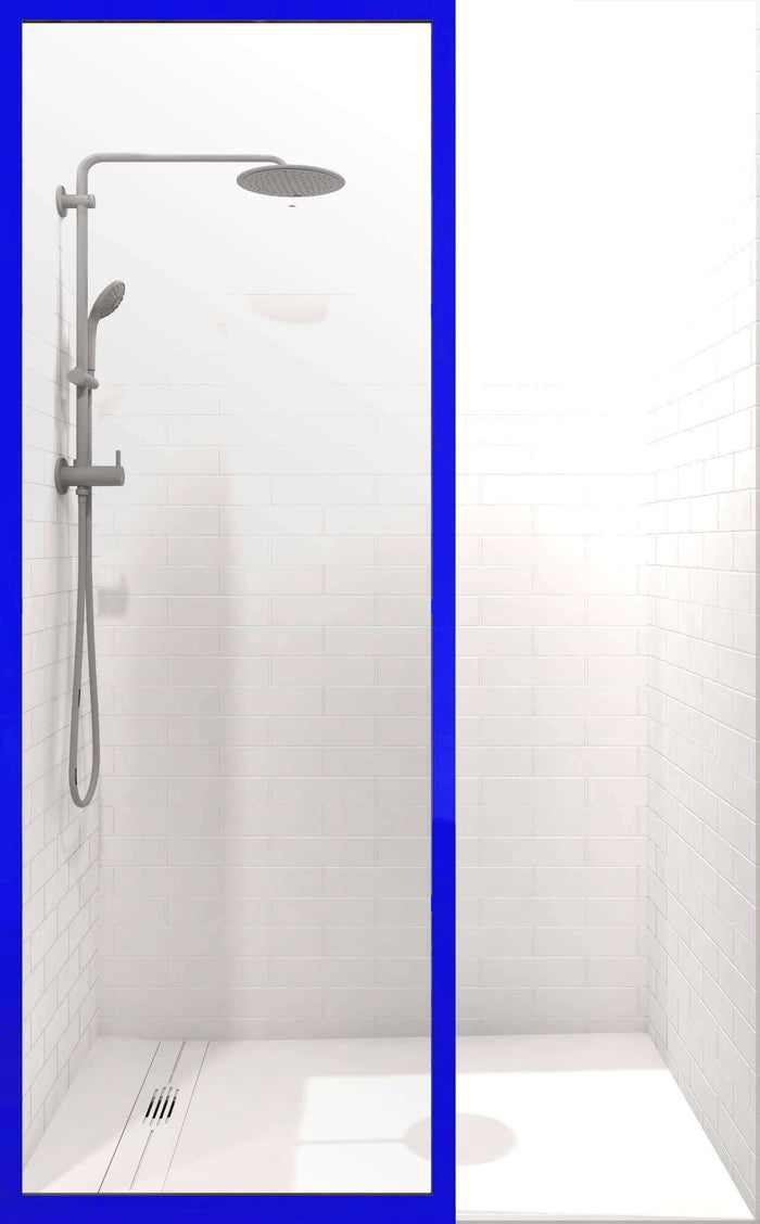 Gridscape GS3 Colorize Shower Screen in Sapphire with Clear Glass