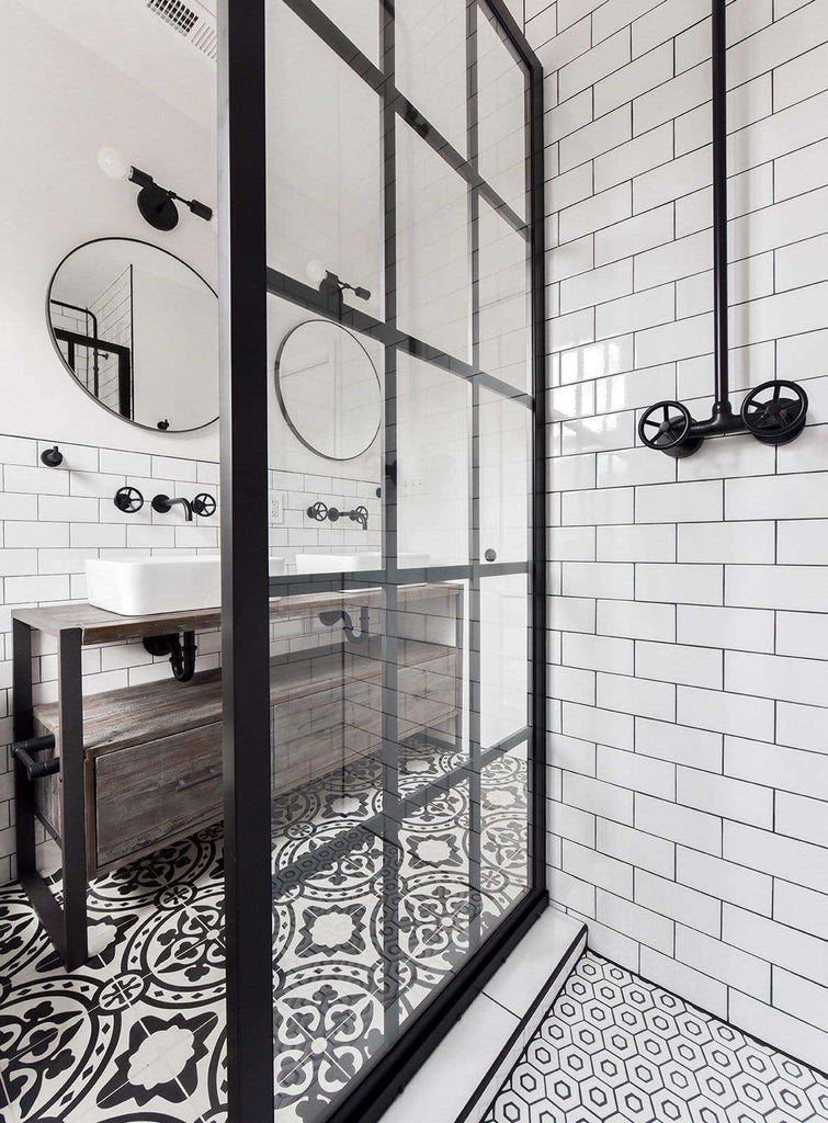 Mullions on Outside of Glass Panel This Gridscape Shower Panel Features an Industrial Style Black Frame