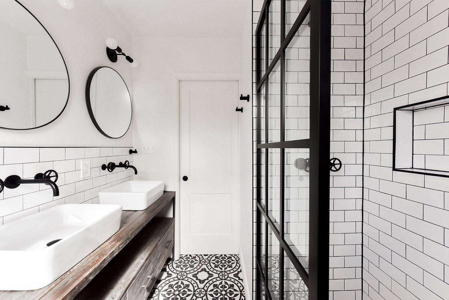 modern farmhouse style bathroom with Gridscape fixed Panel shower screen