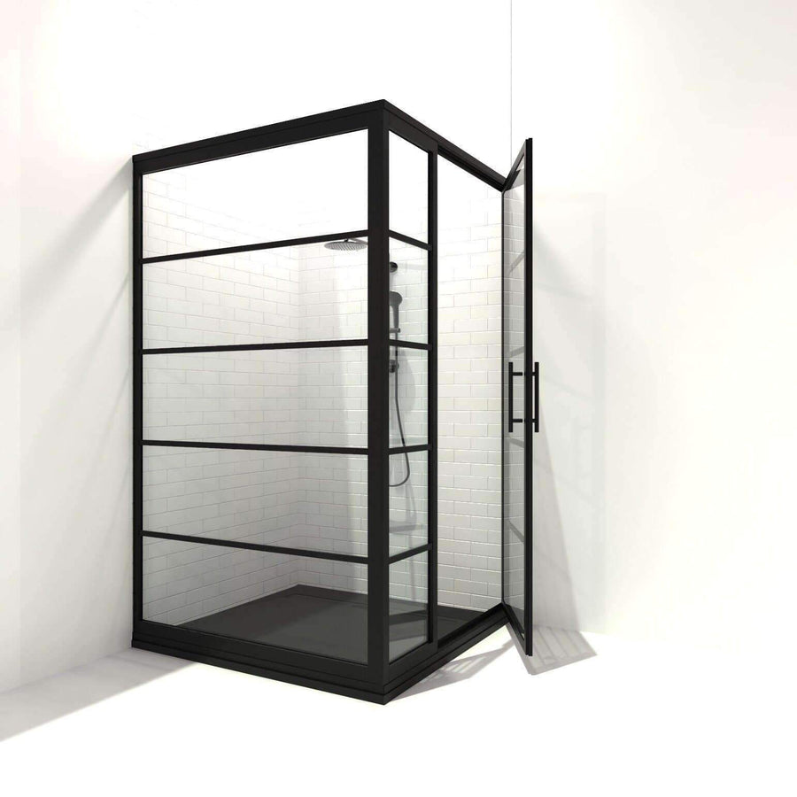 BLACK FRAME INDUSTRIAL SHOWER DOOR IDEA WITH METAL MUNTINS | GRIDSCAPE BY COASTAL SHOWER DOORS