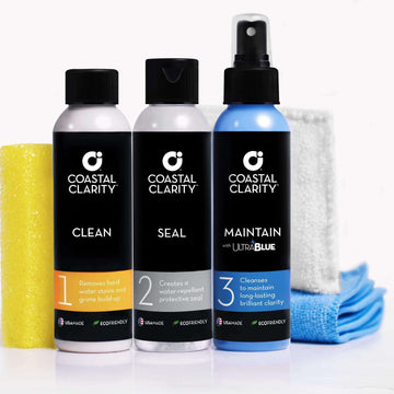 COASTAL CLARITY Shower Door Glass Restoration Kit by Coastal Shower Doors | Best Way to Remove and Prevent Hard Water Spots on Glass | 3 Step Process
