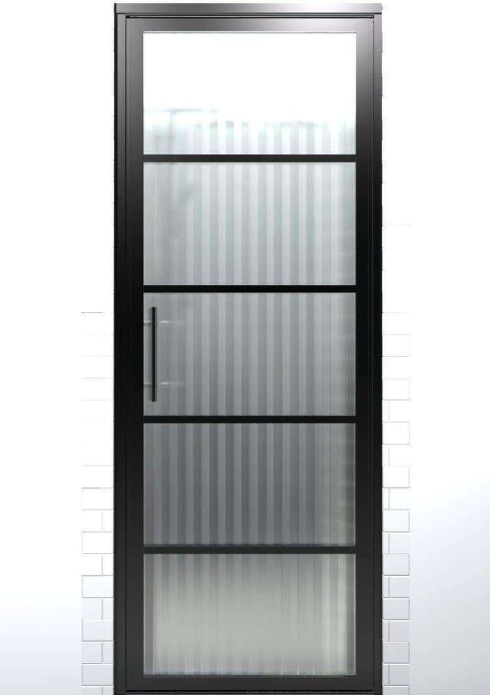 Gridscape GS2 Swing Shower Door in Black with Ribcord Glass