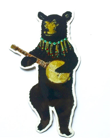 Vinyl Sticker // Banjo Bear