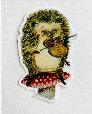Vinyl Sticker // Hedgehog Violinist sticker