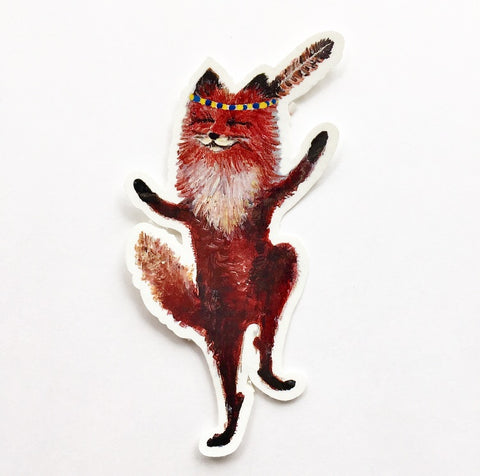 Vinyl Sticker // Die Cut Dancing Fox Sticker