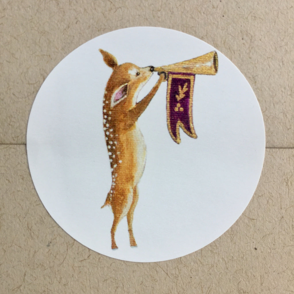 Heralding Fawn Stickers, gift Labels, envelope seals or gift decoration