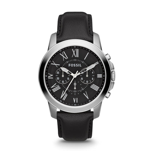 Fossil Mens Grant Chronograph Silver and Black Leather Watch