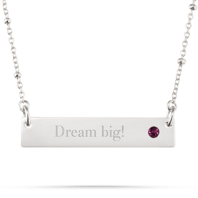 Sterling Silver Birthstone Bar Necklace with Free Filigree Heart Box
