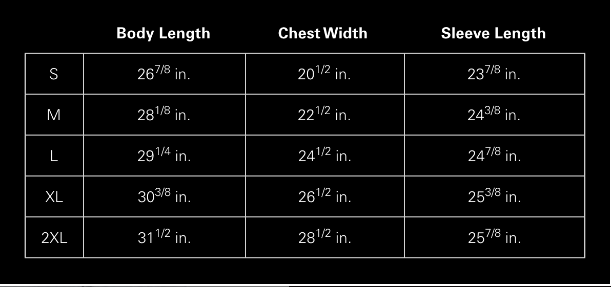 Cloney Size Guide