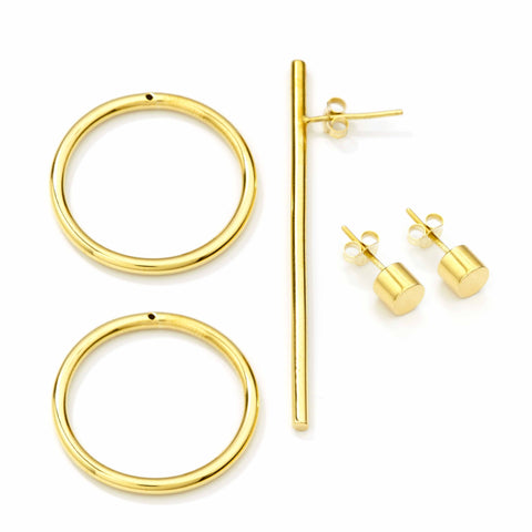 Bold Earring + Double Bold Earring set Gold