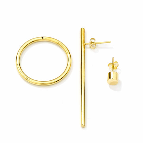 Bold Earring Gold + Bold Ear Stud Gold